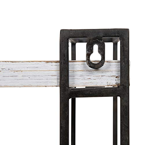 Kate And Laurel Lintz Modern Industrial Wood And Metal Floating Wall Shelves With Black Metal Frame Rustic White 0 2