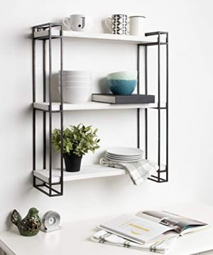 Kate And Laurel Lintz Modern Industrial Wood And Metal Floating Wall Shelves With Black Metal Frame Rustic White 0 3 300x360
