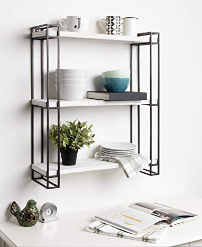 Kate And Laurel Lintz Modern Industrial Wood And Metal Floating Wall Shelves With Black Metal Frame Rustic White 0 3