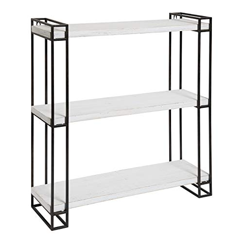 Kate And Laurel Lintz Modern Industrial Wood And Metal Floating Wall Shelves With Black Metal Frame Rustic White 0