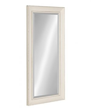 Kate And Laurel Macon Framed Wall Panel Beveled Mirror 16x36 Distressed Soft White 0 0 300x360