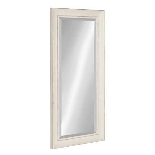 Kate And Laurel Macon Framed Wall Panel Beveled Mirror 16x36 Distressed Soft White 0 0
