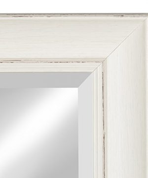 Kate And Laurel Macon Framed Wall Panel Beveled Mirror 16x36 Distressed Soft White 0 1 300x360