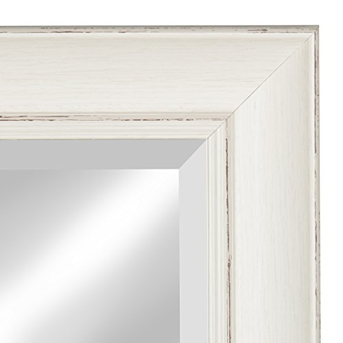 Kate And Laurel Macon Framed Wall Panel Beveled Mirror 16x36 Distressed Soft White 0 1