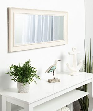 Kate And Laurel Macon Framed Wall Panel Beveled Mirror 16x36 Distressed Soft White 0 3 300x360