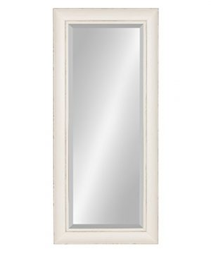 Kate And Laurel Macon Framed Wall Panel Beveled Mirror 16x36 Distressed Soft White 0 300x360