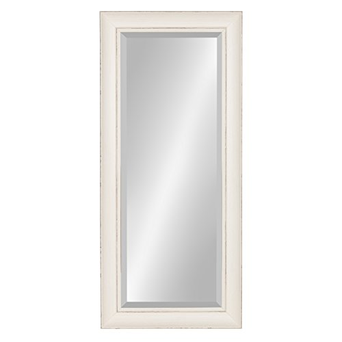 Kate And Laurel Macon Framed Wall Panel Beveled Mirror 16x36 Distressed Soft White 0