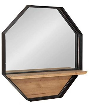 Kate And Laurel Owing Octagon Framed Wall Shelf Mirror 24x24 Brown 0 300x360