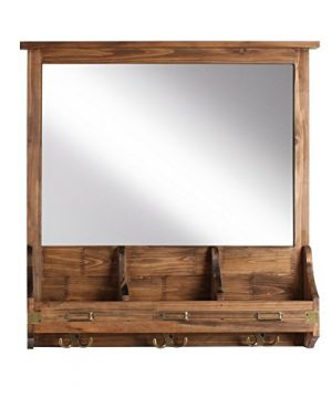 Kate And Laurel Stallard Decorative Rustic Wood Home Organizer With Mirror Pockets And Key Hooks Brown 0 300x360
