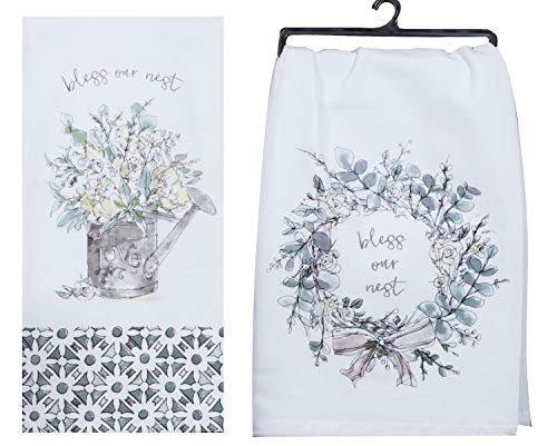 Kay Dee Designs Bless Our Nest Floral Farmhouse Kitchen Towels Bundle Of 2 0