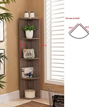 Kings Brand Furniture Wood Wall Corner 5 Tier Bookshelf Display Stand Grey 0 0 300x360