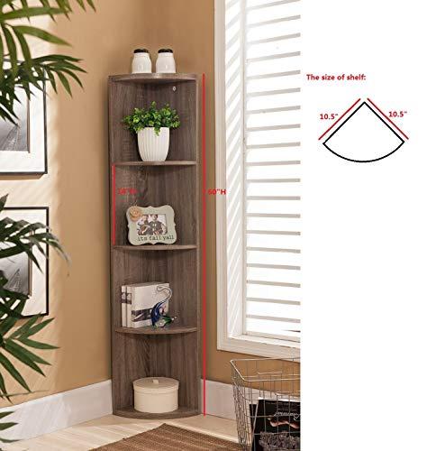 Kings Brand Furniture Wood Wall Corner 5 Tier Bookshelf Display Stand Grey 0 0
