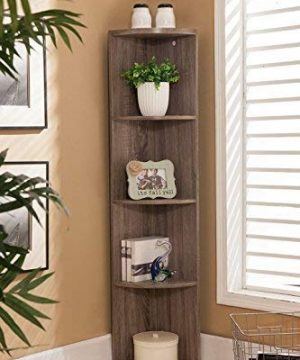 Kings Brand Furniture Wood Wall Corner 5 Tier Bookshelf Display Stand Grey 0 300x360