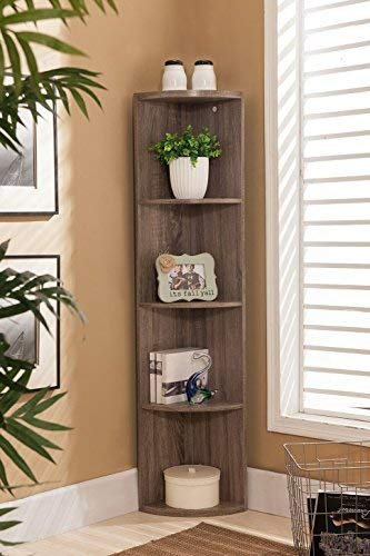 Kings Brand Furniture Wood Wall Corner 5 Tier Bookshelf Display Stand Grey 0