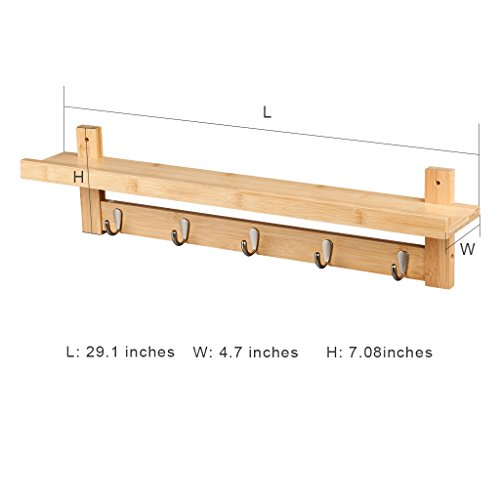 LANGRIA Wall Mounted Coat Hook Bamboo Wooden Coat Rack And Hook Rack With 5 Metal Hooks And Upper Shelf For Storage Scandinavian Style For Hallway Bathroom Living Room Bedroom Bamboo Color 0 1