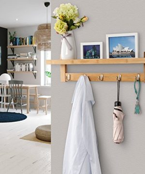 LANGRIA Wall Mounted Coat Hook Bamboo Wooden Coat Rack And Hook Rack With 5 Metal Hooks And Upper Shelf For Storage Scandinavian Style For Hallway Bathroom Living Room Bedroom Bamboo Color 0 4 300x360