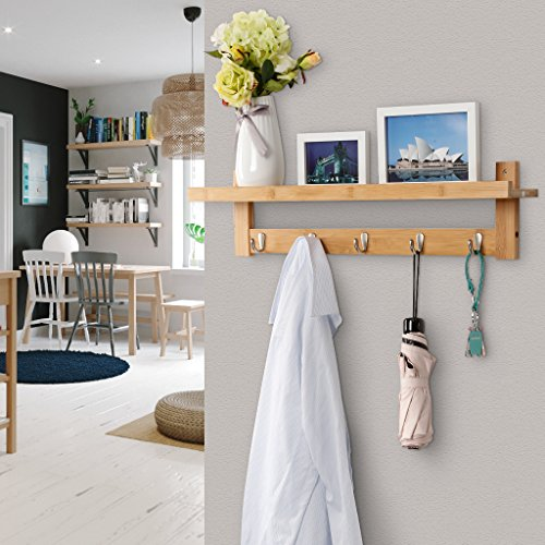 LANGRIA Wall Mounted Coat Hook Bamboo Wooden Coat Rack And Hook Rack With 5 Metal Hooks And Upper Shelf For Storage Scandinavian Style For Hallway Bathroom Living Room Bedroom Bamboo Color 0 4