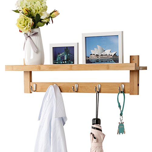 LANGRIA Wall Mounted Coat Hook Bamboo Wooden Coat Rack And Hook Rack With 5 Metal Hooks And Upper Shelf For Storage Scandinavian Style For Hallway Bathroom Living Room Bedroom Bamboo Color 0