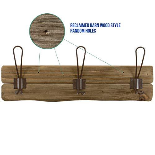 LULIND Rustic Wall Mounted Coat Rack With 3 Brown Hooks Real Cedar Wood 0 1