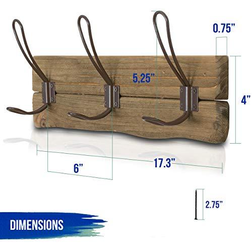 LULIND Rustic Wall Mounted Coat Rack With 3 Brown Hooks Real Cedar Wood 0 2