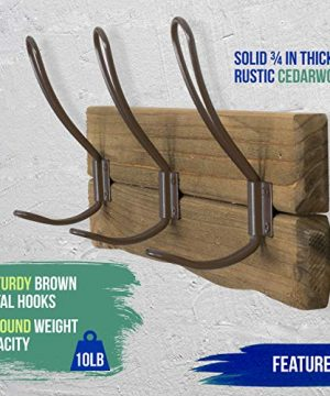 LULIND Rustic Wall Mounted Coat Rack With 3 Brown Hooks Real Cedar Wood 0 3 300x360