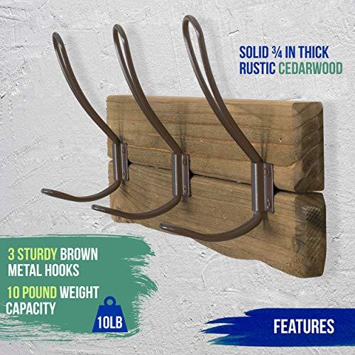 LULIND Rustic Wall Mounted Coat Rack With 3 Brown Hooks Real Cedar Wood 0 3