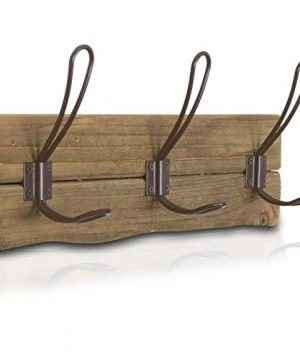 LULIND Rustic Wall Mounted Coat Rack With 3 Brown Hooks Real Cedar Wood 0 300x360