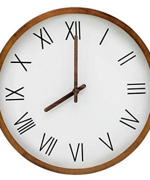 Large 16 Inch Mid Century Farmhouse Wooden Wall Clock Made With Beautiful Pine Wood Great Decor For Your Living Room Kitchen Or Bedroom Silent Decorative Indoor Round Black Roman Numerals 0 300x360