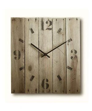 Large Decorative Wall Clock 15 Inch Rectangle Wood Rustic Original Silent Non Ticking Quartz For Home 0 300x360