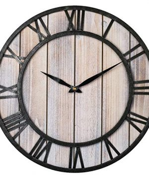 Large Farmhouse Wall Clocks 18 Inch Vintage Roman Numerals Silent Clock Solid Wood Metal Frame Home Rustic Decorative Clock For Indoor Living Room Bedroom Kitchen Dining Room Light Wooden 0 300x360
