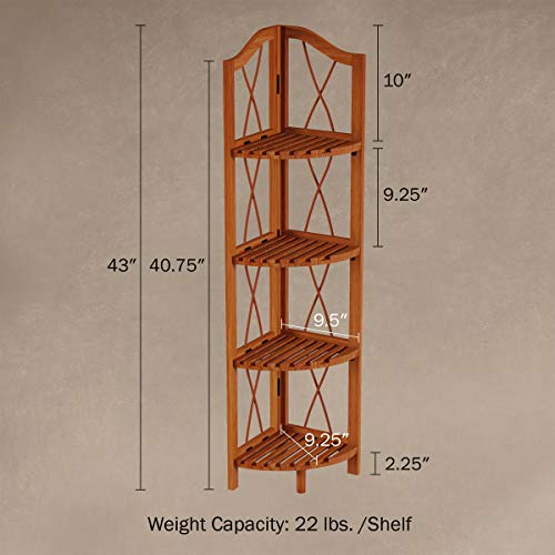 Lavish Home 4 Tier Wood Folding Corner Display Shelf 0 0