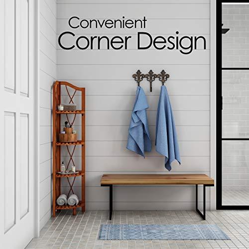 Lavish Home 4 Tier Wood Folding Corner Display Shelf 0 2