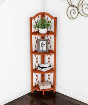 Lavish Home 4 Tier Wood Folding Corner Display Shelf 0 300x360