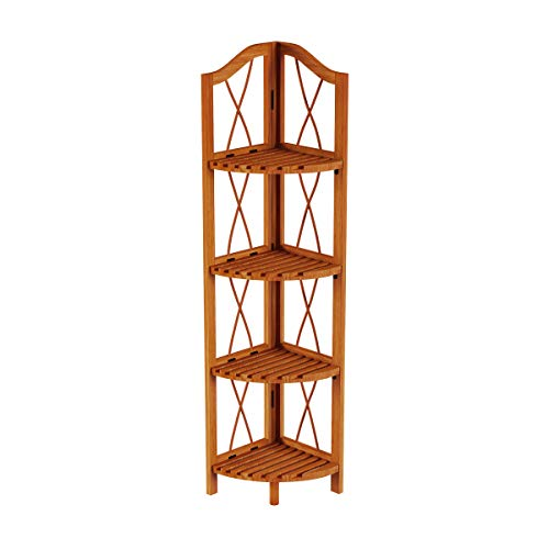 Lavish Home 4 Tier Wood Folding Corner Display Shelf 0 5