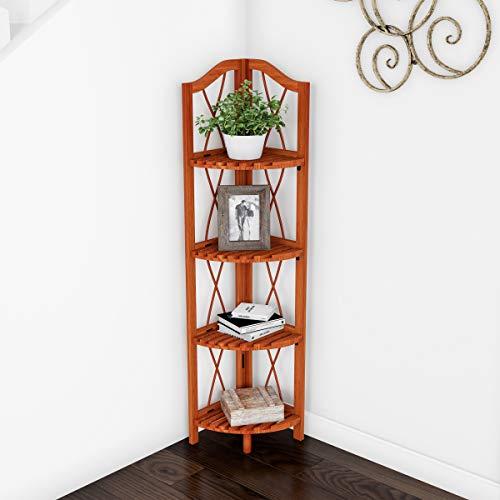 Lavish Home 4 Tier Wood Folding Corner Display Shelf 0