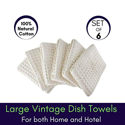 Linen And Towel Kitchen Dish Towels Ring Spun Cotton Large 18 X 28 6 Pack Big Waffle Cream Color Kitchen Towel Hand Towels Tea Towels Dish Towels And Dish Cloth 0 0