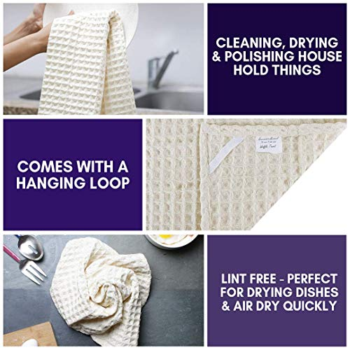 Linen And Towel Kitchen Dish Towels Ring Spun Cotton Large 18 X 28 6 Pack Big Waffle Cream Color Kitchen Towel Hand Towels Tea Towels Dish Towels And Dish Cloth 0 1