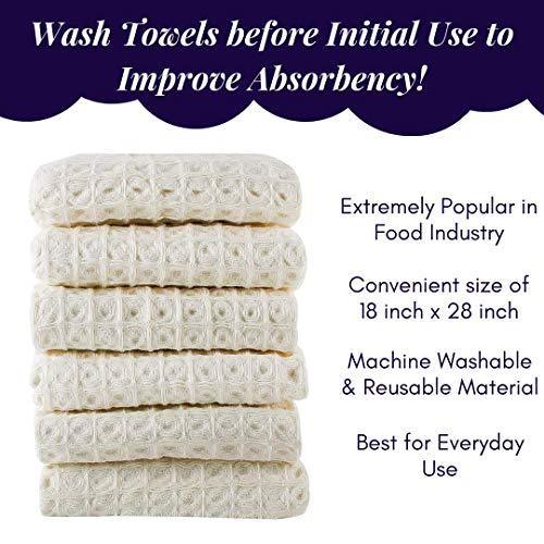 Linen And Towel Kitchen Dish Towels Ring Spun Cotton Large 18 X 28 6 Pack Big Waffle Cream Color Kitchen Towel Hand Towels Tea Towels Dish Towels And Dish Cloth 0 3