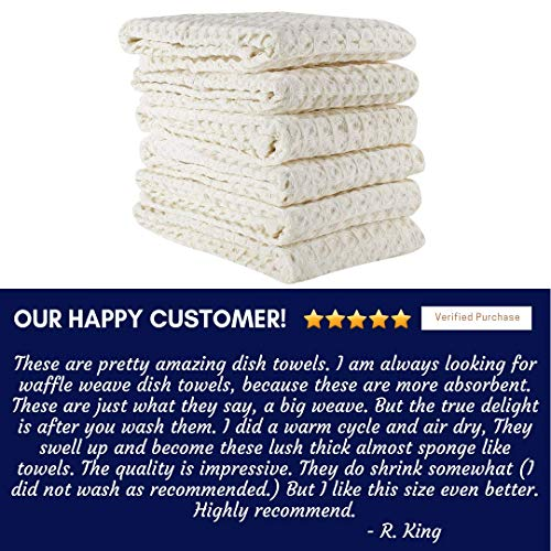 Linen And Towel Kitchen Dish Towels Ring Spun Cotton Large 18 X 28 6 Pack Big Waffle Cream Color Kitchen Towel Hand Towels Tea Towels Dish Towels And Dish Cloth 0 4