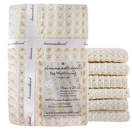 Linen And Towel Kitchen Dish Towels Ring Spun Cotton Large 18 X 28 6 Pack Big Waffle Cream Color Kitchen Towel Hand Towels Tea Towels Dish Towels And Dish Cloth 0