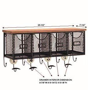 Linon 4 Basket Wall Organizer 235 L X 725 W X 124 H Brown Black 0 3 300x309