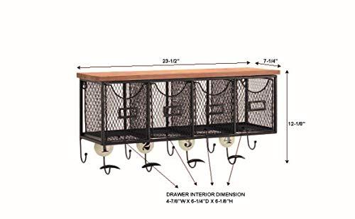Linon 4 Basket Wall Organizer 235 L X 725 W X 124 H Brown Black 0 3