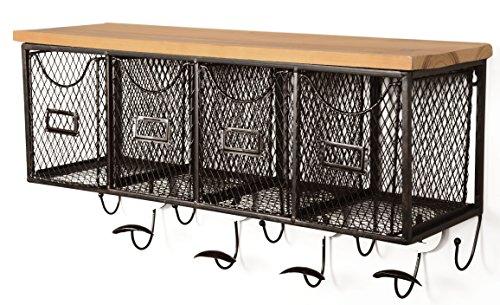 Linon 4 Basket Wall Organizer 235 L X 725 W X 124 H Brown Black 0