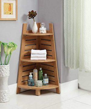 Linon Amzn0326 Finn Bamboo Bathroom Corner Shelf Brown 0 0 300x360