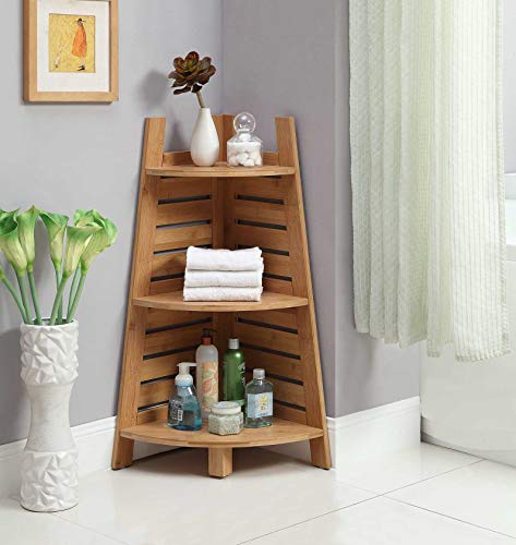 Linon Amzn0326 Finn Bamboo Bathroom Corner Shelf Brown 0 0