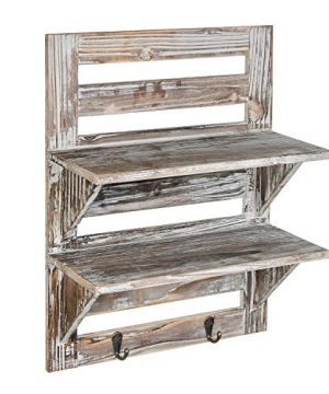 Liry Products Rustic Wooden Wall Mounted Shelves Iron Hooks Two Tier Storage Rack Brown Torched Distressed Wood Display Shelf Organizer Farmhouse Decorative Holder Home Office Kitchen Living Room 0 0 300x360