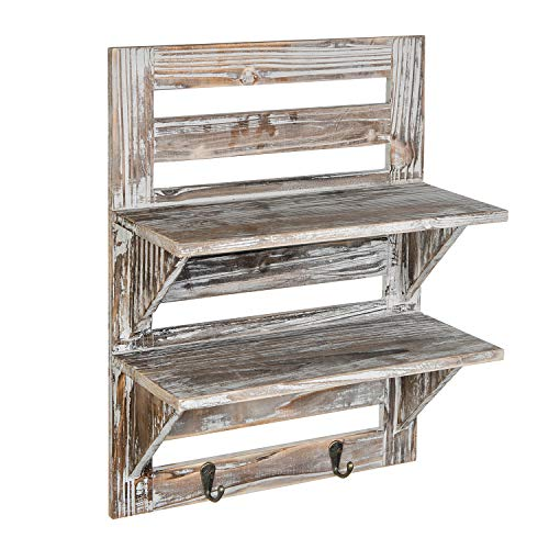 Liry Products Rustic Wooden Wall Mounted Shelves Iron Hooks Two Tier Storage Rack Brown Torched Distressed Wood Display Shelf Organizer Farmhouse Decorative Holder Home Office Kitchen Living Room 0 0