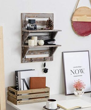 Liry Products Rustic Wooden Wall Mounted Shelves Iron Hooks Two Tier Storage Rack Brown Torched Distressed Wood Display Shelf Organizer Farmhouse Decorative Holder Home Office Kitchen Living Room 0 2 300x360