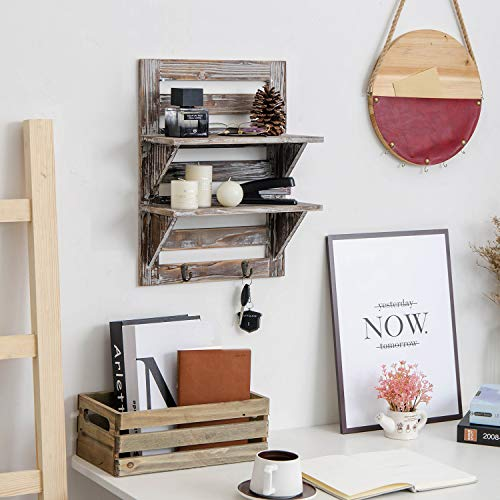 Liry Products Rustic Wooden Wall Mounted Shelves Iron Hooks Two Tier Storage Rack Brown Torched Distressed Wood Display Shelf Organizer Farmhouse Decorative Holder Home Office Kitchen Living Room 0 2