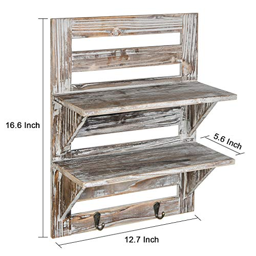 Liry Products Rustic Wooden Wall Mounted Shelves Iron Hooks Two Tier Storage Rack Brown Torched Distressed Wood Display Shelf Organizer Farmhouse Decorative Holder Home Office Kitchen Living Room 0 3